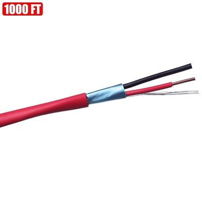 1000ft Shielded Solid Fire Alarm Cable 182 Copper Wire 18awg Fplr Cl3r Ft4 Red