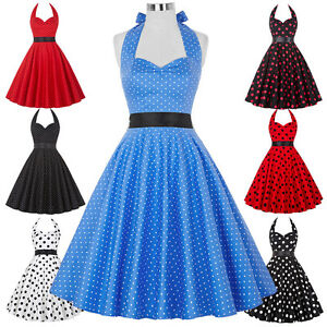 Vintage-50s-60s-Classic-Polka-Dot-Swing-Prom-Cocktail-Pinup-Summer-Dress-PLUS