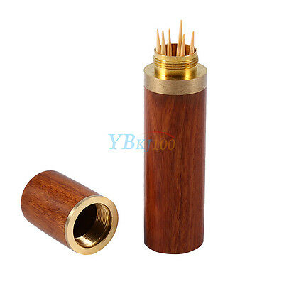 Mini Rosewood Wooden Toothpick Holder Case Box Capsule Crafts Travel Home Decor  Rosewood Mini Box