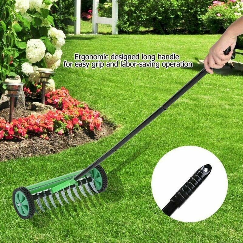 Rolling Lawn Aerator Vertical Cut Lawn Turf Dethatcher Thatching Rake Head Garde