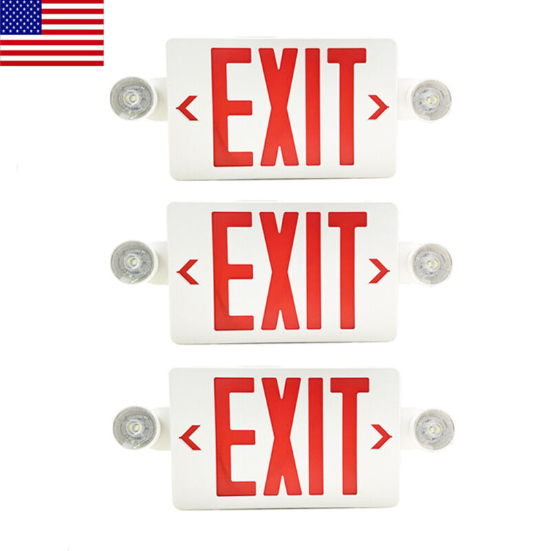3Pack LED Exit Sign Emergency Light–Hi Output Compact Combo Red Fire UL listed