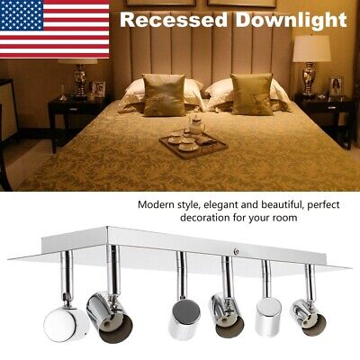 - LED Track Lighting 6 Heads Ceiling Recessed Downlight Mount Fixture GU10 Bulbs