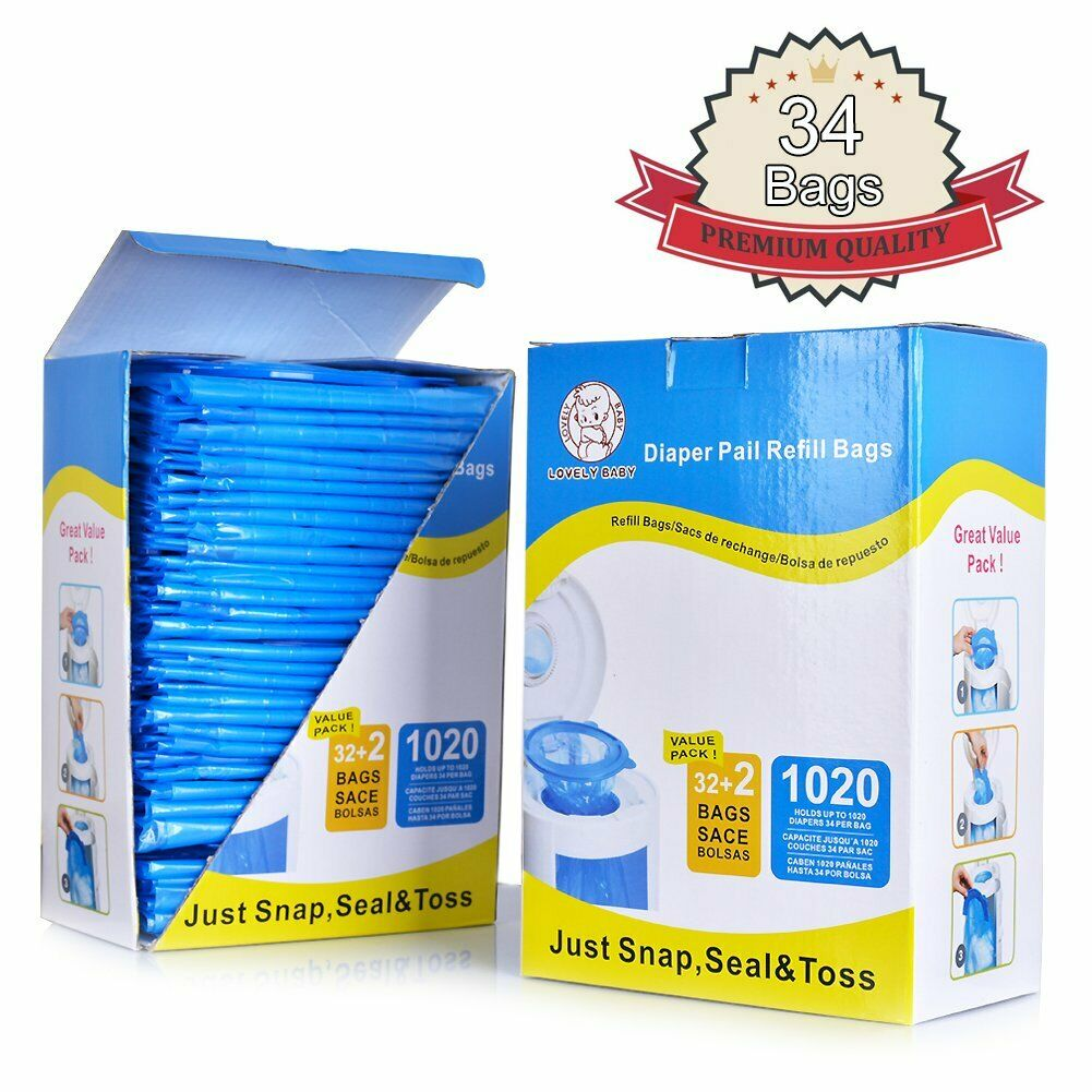 Diaper Pail Refill Bags, Seal and Toss Refill Bags, 1020 Cou