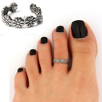 Elegant Women Lady 925 Sterling Silver Toe Ring Foot Adjustable Beach Jewelry R