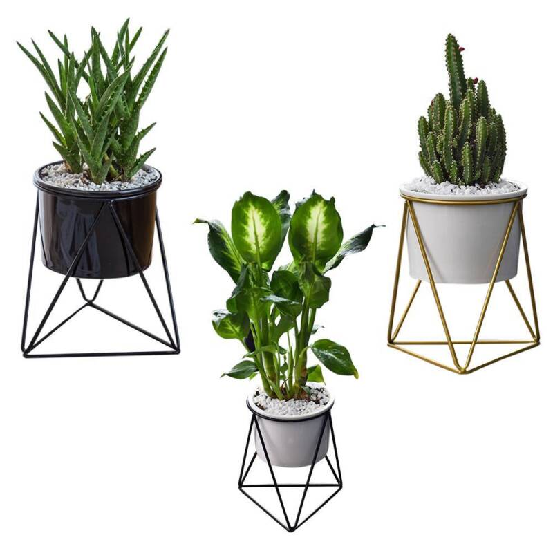 Geometric Ceramic Succulent Planter Flower Pot with Iron Pot Stand ...