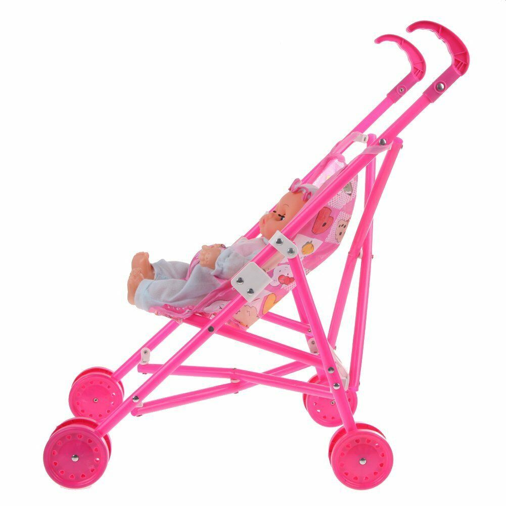 Doll Stroller Baby Children Pushchairs Foldable Pram Deluxe Girls Toys Carriages