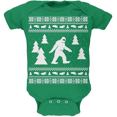 Sasquatch Ugly Christmas Sweater Green Soft Newborn Infant One Piece - Infant Ugly Christmas Sweater