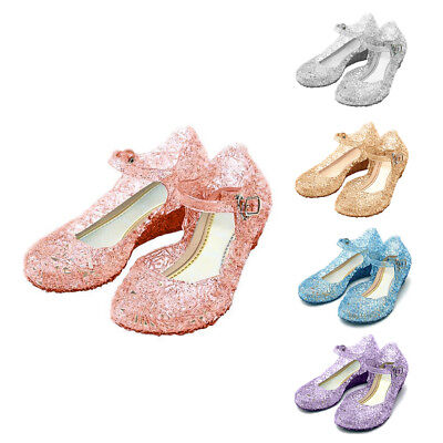 Baby Kids Sandals High Heels Girls Wedge Glass Jelly Shoes Slipper Summer Size