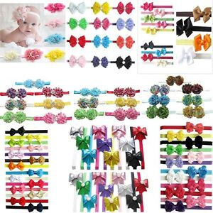 6-7-9-10-12-13-14pcs-Girl-Baby-Hair-Bow-Flower-Clip-Stretch-Headband-Hair-Band