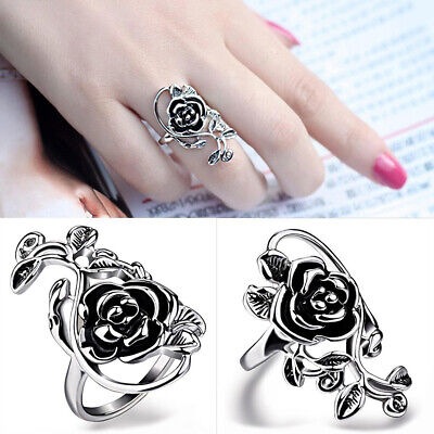 Fashion Gothic Women Rose Flower Vine Alloy Enamel Finger Ring Cosplay Jewelry Fashion Jewelry