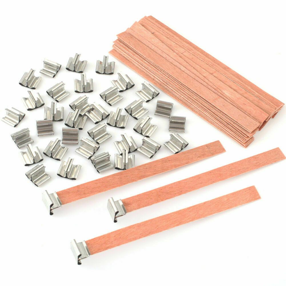 50pc Candle Wicks Cotton Core Pre Waxed With Sustainers For Candle Making 8 U8J1