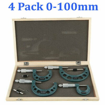 4 Pcs 0-100mm0-4 Outside Micrometer Set Machinist Tool Carbide W Box Us Stock