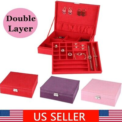 Double Layer Jewelry Storage Earrings Rings Bracelet Necklace Box Organizer Case
