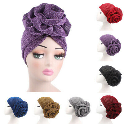 Women Turban India Muslim Beanie Hat Flower Stretch Hat Head Scarf Wrap Cap -