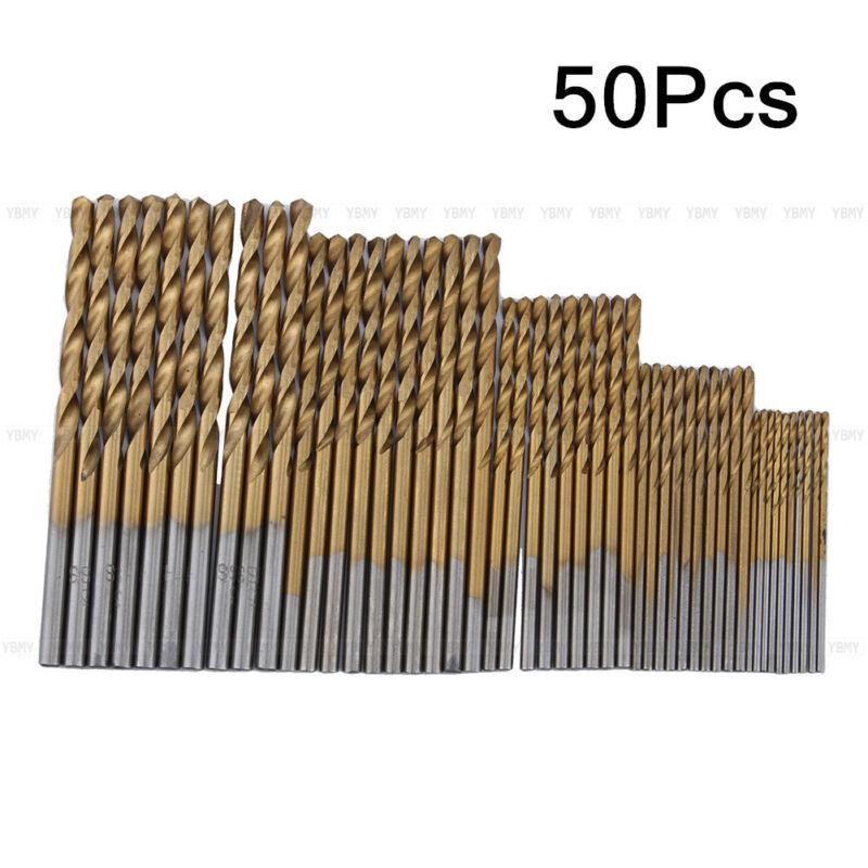 50Pcs 1/1.5/2/2.5/3mm HSS High Speed Steel Drill Bit Set Tools Titanium Coated