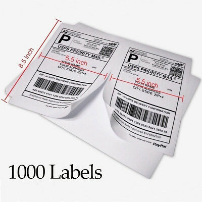 1000 Self Adhesive Shipping Labels 8.5x5.5 Half Sheet Paypal Usps Ups Fedex Us