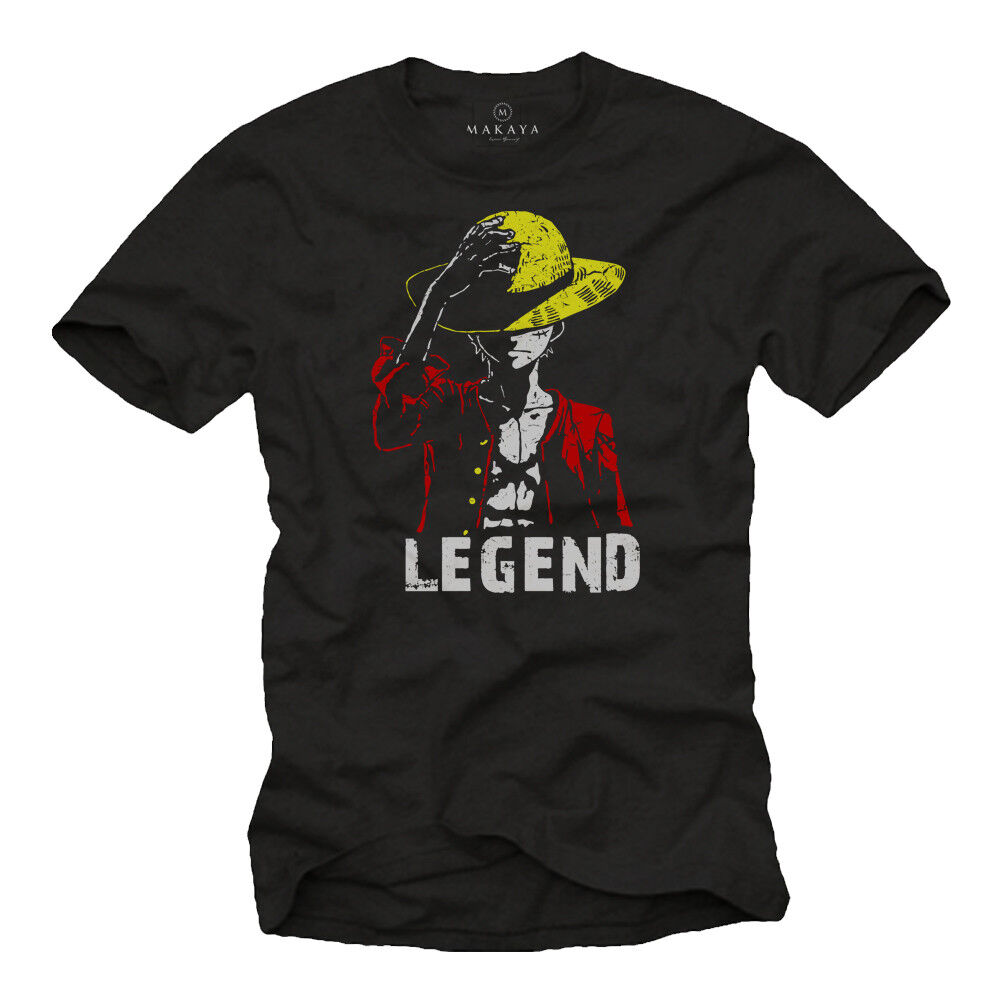 One Comic Piece Herren T-Shirt mit Legend Ruffy - Männer Manga Nerd Shirt