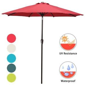 NEW Domi Outdoor Living 9 Ft Patio Umbrella with Push Button Tilt and Crank 8 Steel Ribs