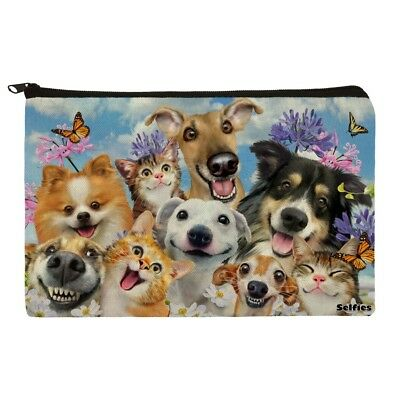 Dogs Cats Fun in the Sun Selfie Makeup Cosmetic Bag Organizer Pouch