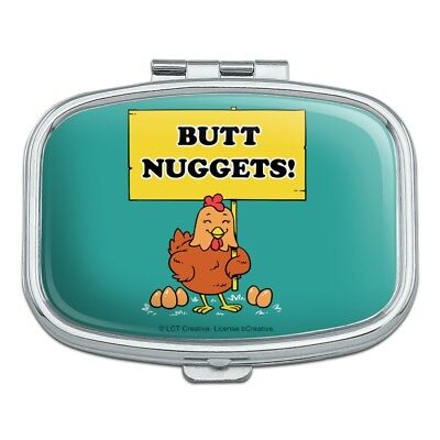 Butt Nuggets Chicken Eggs Funny Humor Rectangle Pill Case Trinket Gift Box