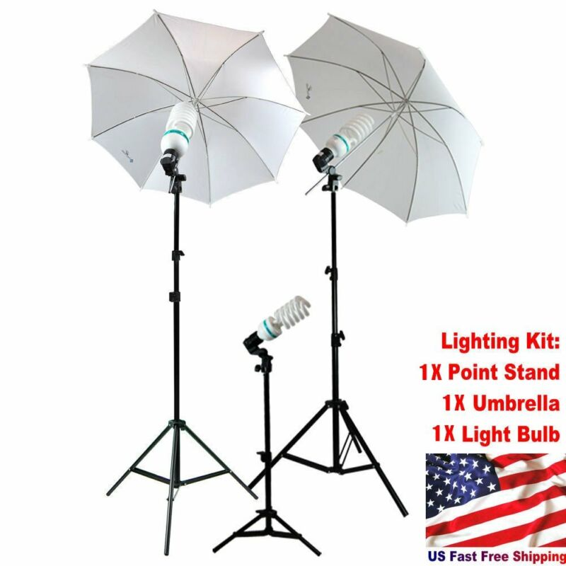 Studio Photography Lighting Kit 1Point Stand Lighting Umbrella Photo Bulb Lamp L