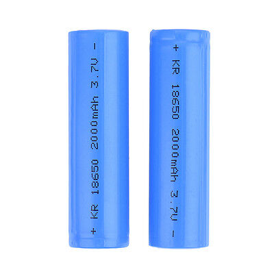 2x 18650 Rechargeable Li-ion Vape Battery 2000mAh Unprotected Flat Top Bluelans
