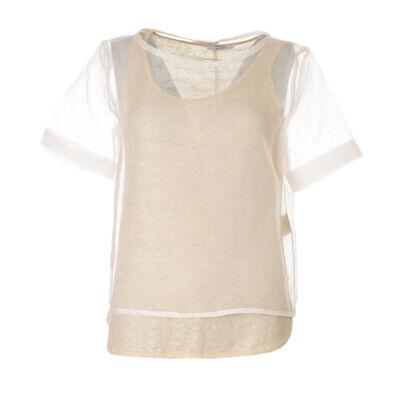iBLUES MAX MARA Top White & Gold Layered Silk Linen RRP £145 BG