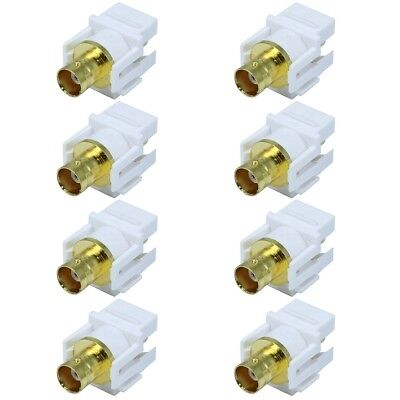8 Pcs BNC Video Coax Connector Coupler Keystone Jack For Wall Plate CCTV White Video Connector Jack