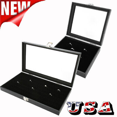 36/72 Jewelry Ring Display Organizer Case Tray Holder Earring Storage Box 72 Ring Case Jewelry Box