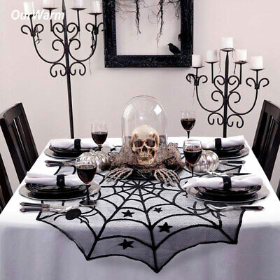 Halloween Lace Spider Web Tablecloth Round Table Topper Cloth Cover Party Decor - Halloween Party Table Cloth