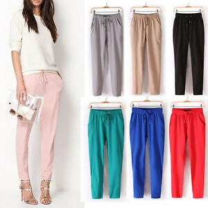 Womens-Fashion-Casual-Sport-Drawstring-Elastic-Waist-Chiffon-Harem-Pants-WF-4156
