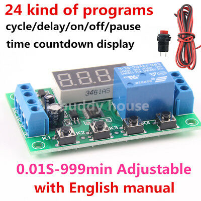 Dc 12v Infinite Cycle Delay Timing Timer Relay Onoff Switch Loop Module 10a 120