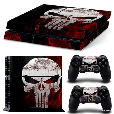 PS4 Playstation 4 Console Skin Decal Sticker The Punisher + 2 Controller...