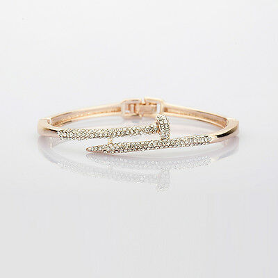 Women Gold Plated Rhinestone Crystal Cuff Bangles Beaded Charm Bracelets Jewelry