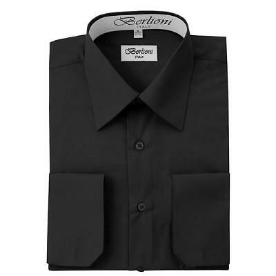 Berlioni Italy Men's Premium French Convertible Cuff Solid Dress Shirt Black Black French Cuff Shirt