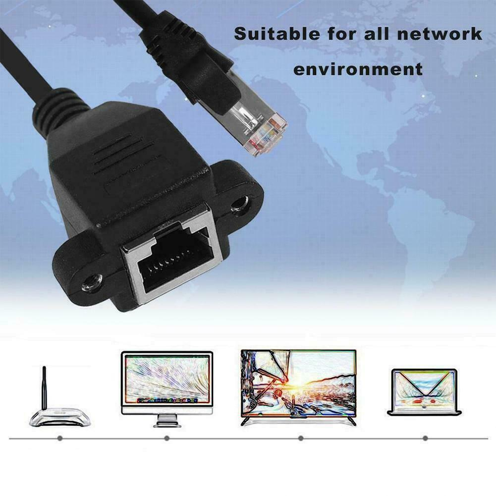 Useful RJ45 M//F Screw Panel Mount Ethernet Cable LAN Network Extension Cord