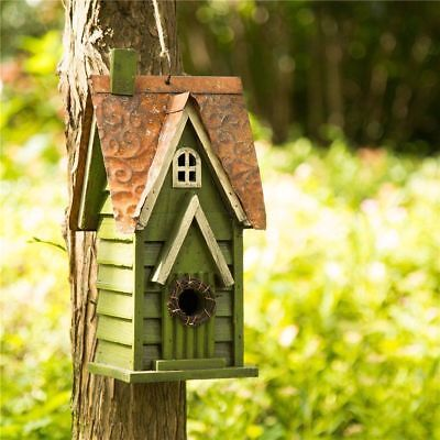 """Glitzhome 11.93"""" Tall Hanging Green Hand Painted Wood Bird House Feeder Nest New"""
