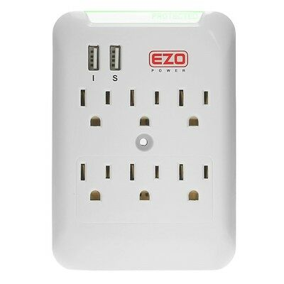 6 AC Outlet Wall Mount Surge Protector with 2 USB Charger Port Power Strip