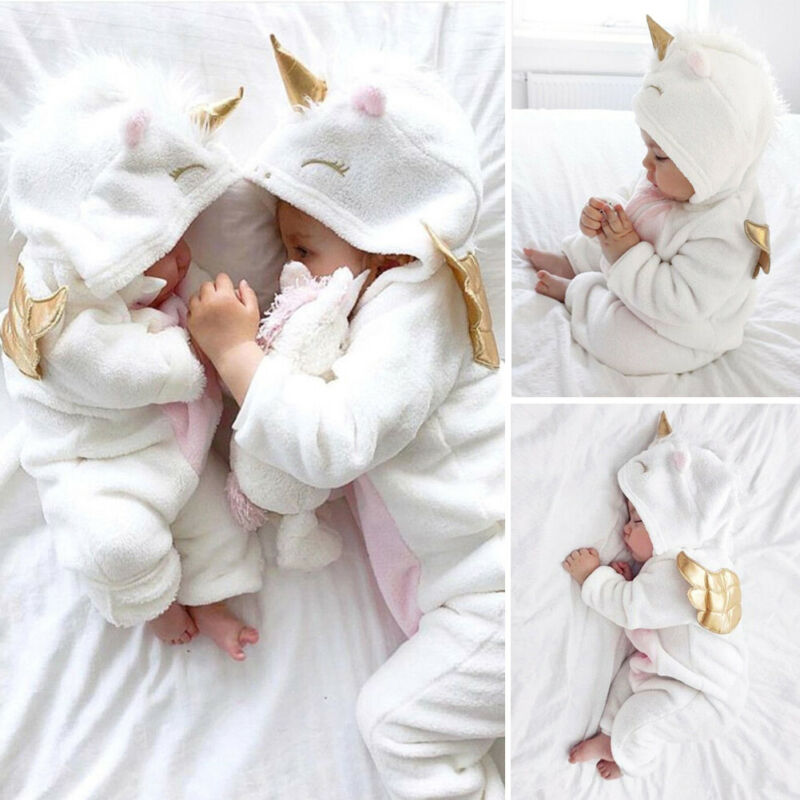 Newborn Baby Boy Girl Unicorn Romper Hooded Jumpsuit Bodysuit Outfit Clothes US