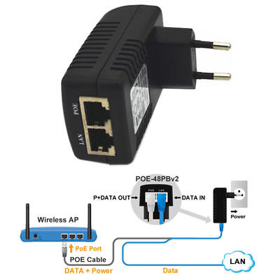 48V 0.5A EU Wall Plug POE Ethernet Injector Adapter IP Phone/Camera Power Supply