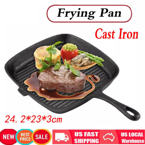 Premium Non-stick Cast Iron Grill Steak Pan Frying Cooking G