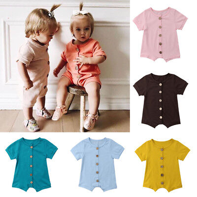 UK Newborn Kids Baby Boy Girls Cotton Romper Jumpsuit Bodysuit Outfit Clothes
