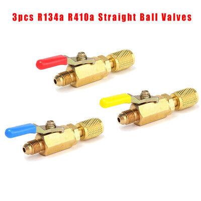 3x 14 Sae Ac Hvac R410a R134a Refrigerant Charging Hoses Shut Ball Valve
