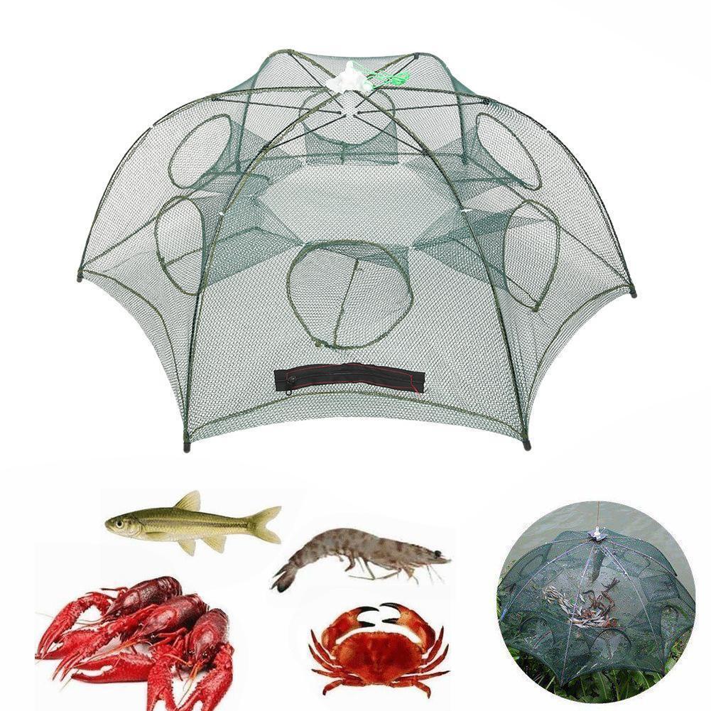 6//8//12//16 Holes Portable Folding Fishing Net Shrimp Cage Crab Fish Trap Net Cast