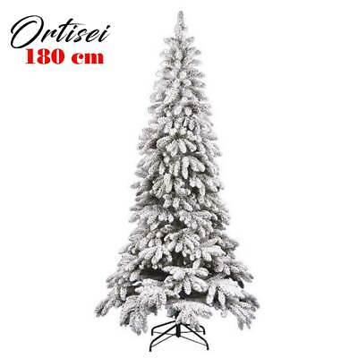 Albero di Natale Innevato Slim 180cm Ortisei 827 Rami Super Folto Effetto Neve