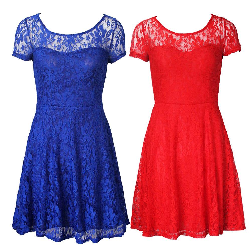 US Women Summer Lace Floral Elegant Evening Party Cocktail Short Mini Dress Clothing, Shoes & Accessories