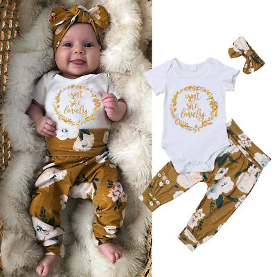 US Newborn Baby Girl Little Sister Tops Romper Flower Pants 3Pcs Outfits Clothes - Little Girl Clothing