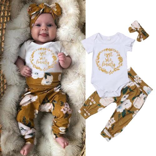 US Newborn Baby Girl Little Sister Tops Romper Flower Pants