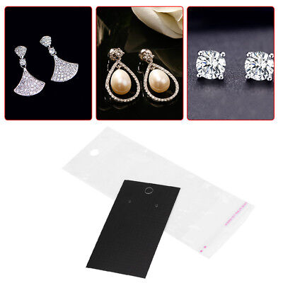 100pcsset Black Earring Display Cards Self Adhesive Bags W Hanging Holes Is