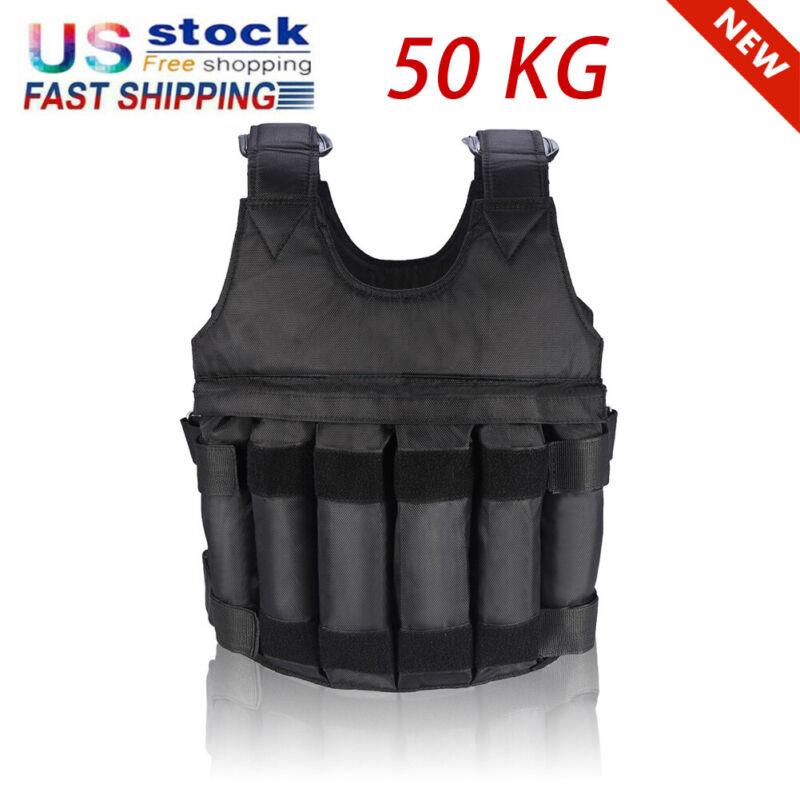 Weighted Vest 110LB Adjustable Multi Pockets Fitness Training Workout Jacket